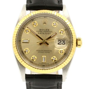 Mens Vintage ROLEX Oyster Perpetual Datejust 36mm Gold Dial DIAMOND  Watch