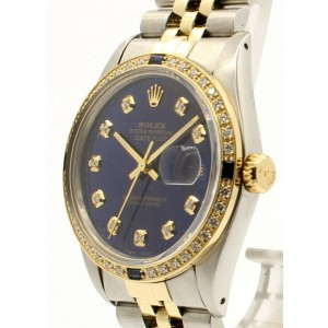 Mens Vintage ROLEX Oyster Perpetual Datejust 36mm Blue DIAMOND Dial Watch