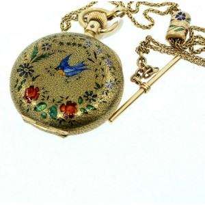 ANTIQUE ORIGINAL 14K GOLD ENAMEL BIRD ROSES DECORATED POCKET WATCH w FOB