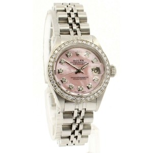 ROLEX Oyster Perpetual 18k & Steel Datejust 26mm PINK MOP Dial Diamond Watch