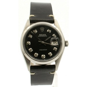 Mens ROLEX OysterDate Precision 6694 Stainless Steel Black Dial Diamond Watch