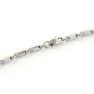 Cartier Fidelity 18k White Gold Flat Bar Link Chain Necklace w/Paper