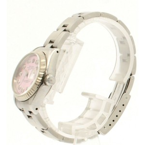 ROLEX Oyster Perpetual Stainles Steel Datejust 26mm PINK MOP Dial Diamond Watch