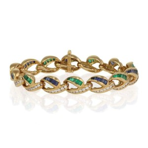 Charles Krypell 5.00ct Diamond & Gems 18k Gold Fancy Link Bracelet