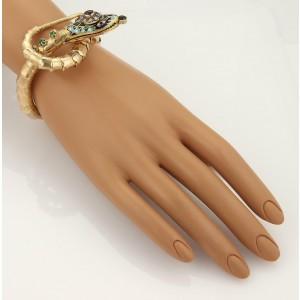 Vintage 14k Rose Gold Diamonds Garnet Emerald & Enamel Snake Bracelet