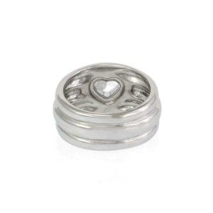 Chopard Happy Diamond 18k White Gold 12mm Wide Heart Ring Size 7.75