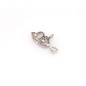 Tiffany & Co. Diamond & Sapphire Platinum Double Hearts & Bow Pendant