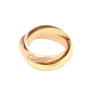 Cartier Trinity 18k Tricolor Gold 3mm Rolling Band Ring Size 52-US 6