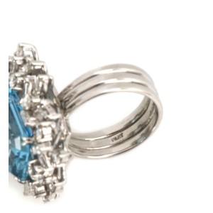 Estate 23 Carat Diamond Aquamarine & Platinum Rectangle Cluster Halo Ring