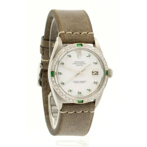 Mens ROLEX Oyster Perpetual Date 34mm White MOP Dial Stainless Steel Watch