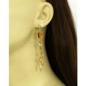 Citrine Gemstones & Mariner Link Double Strand Drop Dangle Earrings in 14k YGold