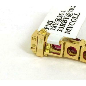 New 20.23ct Round Cut Rubies 18k Yellow Gold Tennis Bracelet