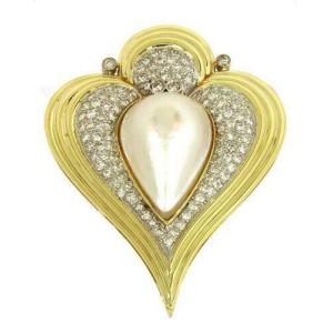 Gorgeous 1.75ct Diamonds Mabe Pearl 14k Gold Fancy Heart Shaped Pendant