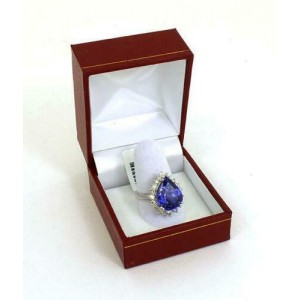 New 9.02ct Diamond & Tanzanite Pear Shape 18k White Gold Cocktail Ring Size 6.5
