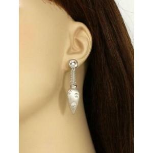 Elegant 18k White Gold & Diamonds Fancy Drop Dangle Earrings