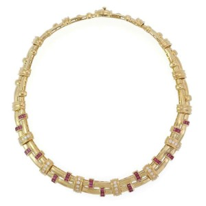 Gorgeous 4.90ct Diamond & Ruby 18k Yellow Gold Fancy Link Collar Necklace
