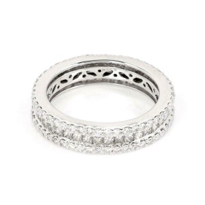 14k White Gold 2.59ct Diamonds 5mm Wide Eternity Band Ring Size 8.75
