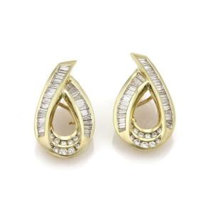 7.00 Carats Diamond 18k Yellow Gold Ribbon Loop Post Clip Earrings