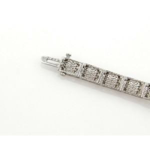 Art Deco Sapphires & Diamonds Camphor Octagon 14k WGold Filigree Bracelet