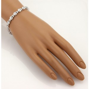 18k White Gold Horseshoe 1.60ct Diamond Fancy Link Bracelet