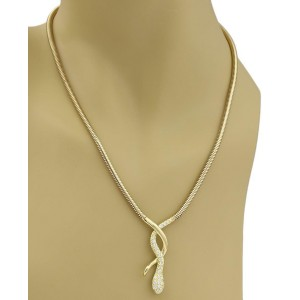 18k Yellow Gold & Diamond Snake Pendant w/Extended Chain Long Necklace