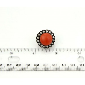 Antique 14k YGold & Silver 1.50ct Rose Cut Diamonds & Coral Stud Earrings