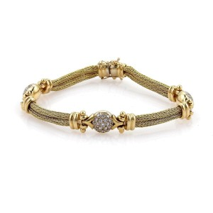 18k Yellow Gold & Diamonds 3 Station Double Foxtail Mesh Chain Bracelet