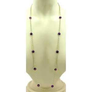 """14k Yellow Gold Amethyst Gems 10 Round Station Chain Necklace 36"""" L"""