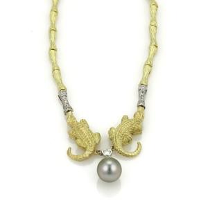 18k Two Tone Gold Diamond & Pearl Aligator Log Design Necklace