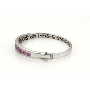 5.50ct Pink Sapphire & Diamond 14k White Gold Bangle Bracelet