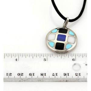 Cartier Pasha Lapis Onyx Turquoise & Marble 18k WGold Pendant Cord Necklace