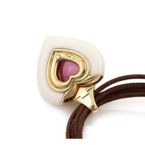 Bvlgari 25.85ct Tourmaline Ceramic 18k Gold Heart Pendant 5 Cord Necklace
