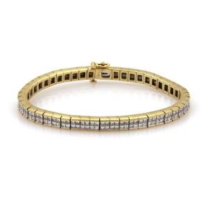 18k Yellow Gold 7 Carats Invisible Set Diamond Cube Link Tennis Bracelet
