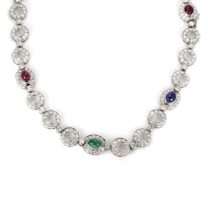 21 Carats Diamond Ruby Emerald Sapphire 18k White Gold Circle Link Necklace