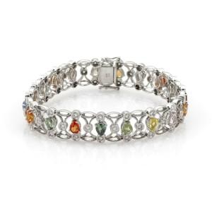 8.47ct Diamond Multicolor Sapphire 12mm Wide 14k White Gold Fancy Bracelet