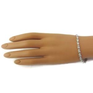"18k White Gold Diamonds Double Heart Link Bracelet 7"" Long"
