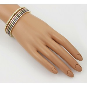 18k Y/Gold 35.15ctw Diamond Citrine Amethyst & Tourmaline Wide Bracelet
