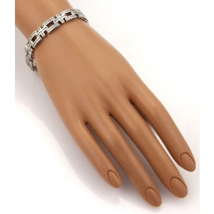 14k White Gold 5.50ctw Diamond Open Bar & Cross Link 9mm Wide Bracelet