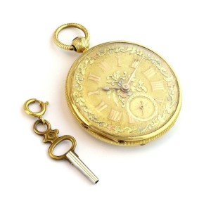 18k Yellow Gold Half Hunter Floral Key Wind Pocket Watch w/Key Tri Color Dial
