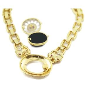 18k Estate 4.50ct Ruby & Diamond Quartz Onyx Changeable Pendant Necklace 137g