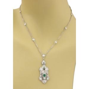 Atr Deco Estate 3.65ct Diamond & Emerald Platinum Filigree Fancy Chain Necklace