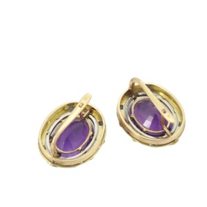 Art Deco Amethyst & Sapphire 18k Yellow Gold Large Oval Post Clip Earrings