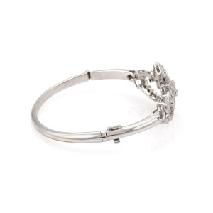 14k White Gold 1.00 Carat Diamond Open Floral Design Bangle Bracelet