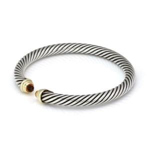 David Yurman Citrine 925 Silver 14k Yellow Gold Cable Cuff Bracelet