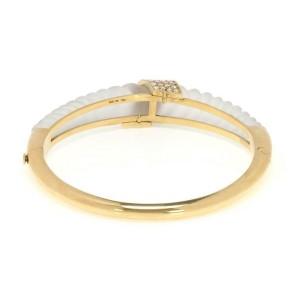 61460 Estate 1.30ct Diamond Shrimp Design Frosted Crystal 18k YGold Bracelet