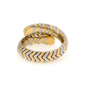 Bvlgari Bulgari Spiga 18k Yellow Gold SSteel Bypass Band Ring Size 7