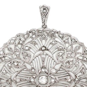 Art Deco 1.40ct Old Mine & Rose Cut Diamond Platinum Large Filigree Pendant