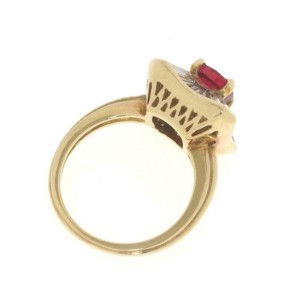 18k Yellow Gold 2.71ct Diamond &Ruby Cocktail Ring Size - 5