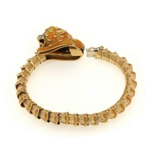 Estate Diamond Enamel 18k Yellow Gold Leopard Head Fancy Flex Bracelet
