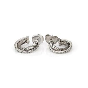 64643David Yurman Diamond 925 Silver 14k WGold Cable Crossover Hoop Earrings
